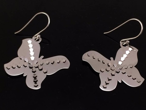 aretes de plata ley 925 mariposa calado ad5002
