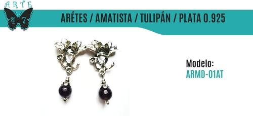 aretes de plata vintage amatista tulipán armd-01at