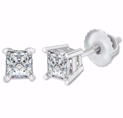aretes diamante natural princess .74ct gh vs oro 14kt blanco
