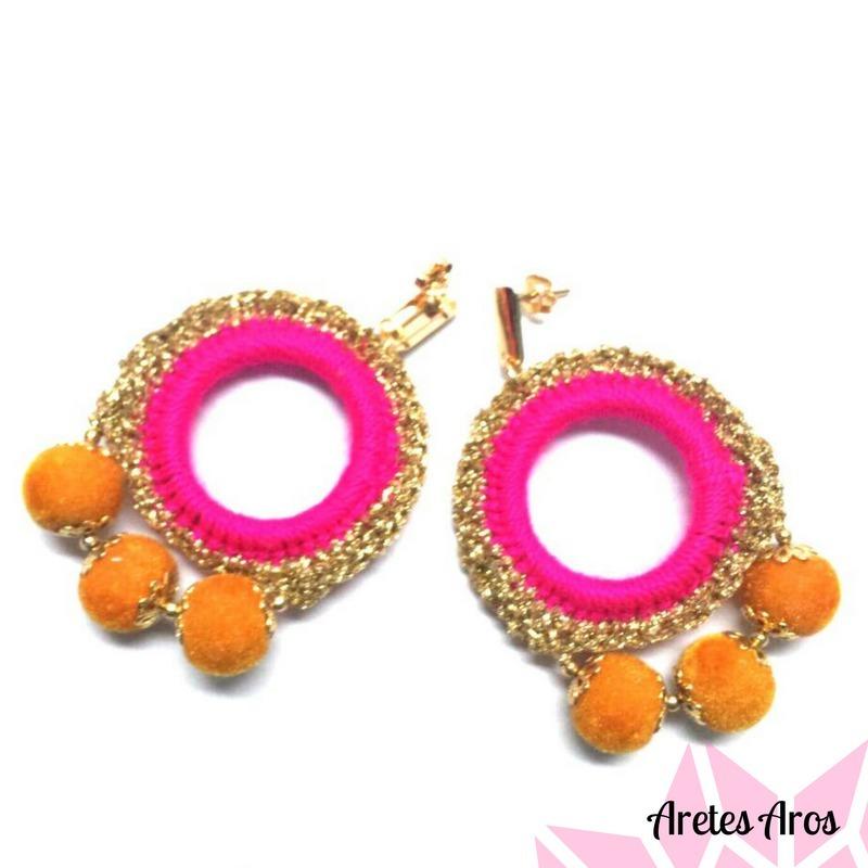bd9874ac9f5c Aretes Diseño Aros Artesanal Moda Mujer Accesorios -   45.990 en ...