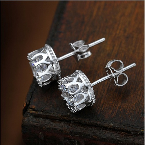 aretes diseño corona, plata 925 y cristal swaroski + estuche