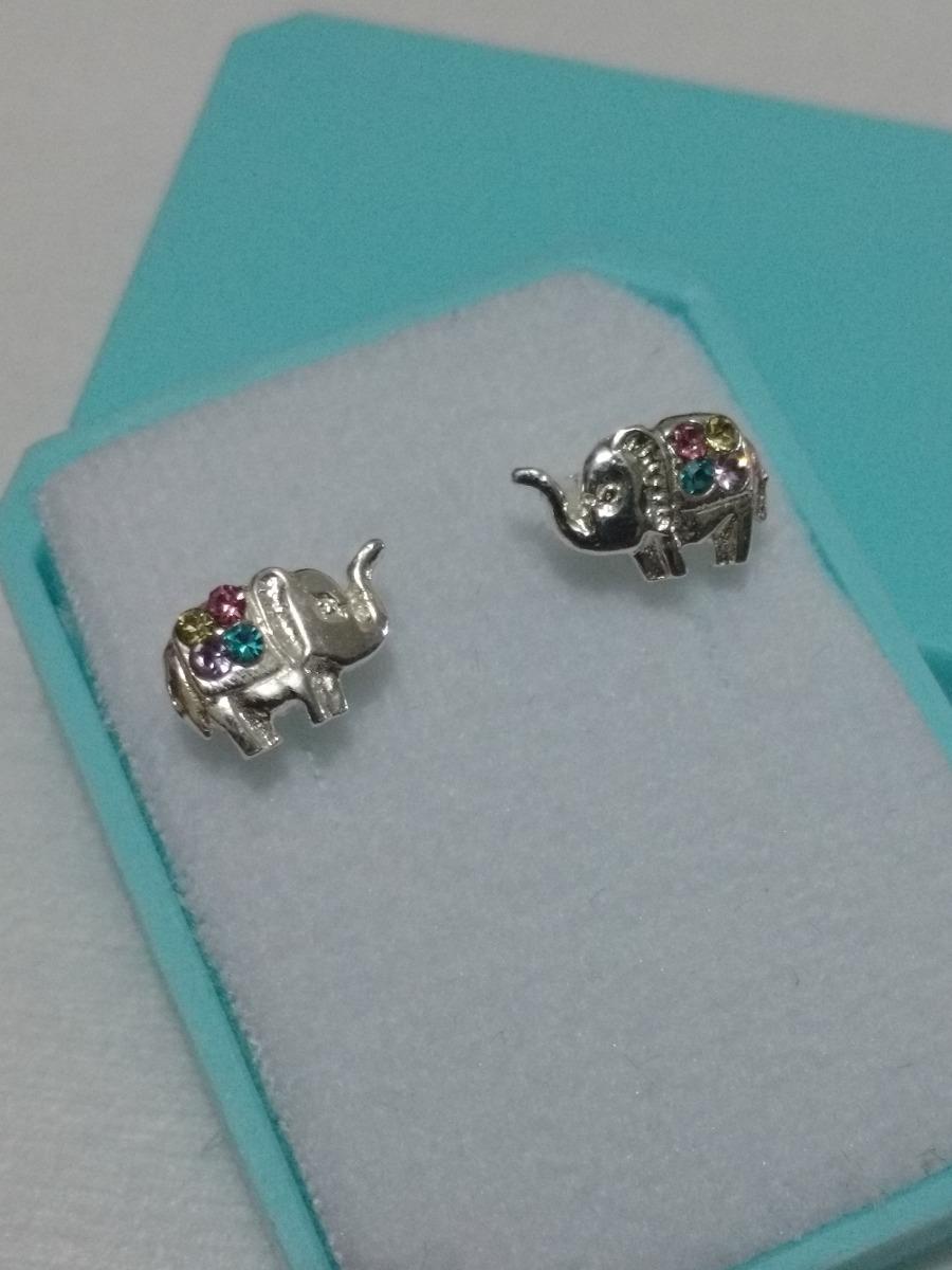 3b2c6342b549 Aretes Elefante Swarovski Cristales Colores De Plata -   320.00 en ...