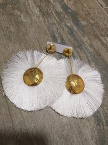 venta caliente online 4a173 3cc2c Aretes En Bronce Con Baño De Oro Y Flecos De Seda O Crochet