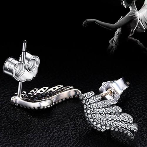 aretes en plata 925 para mujer - alas de angel