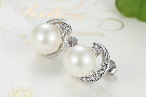 aretes en plata 925 perlas zircones para mujer