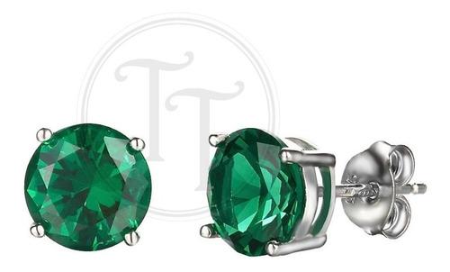 aretes esmeralda nano rusa 3.0 ct plata esterlina 925 4.7 mm