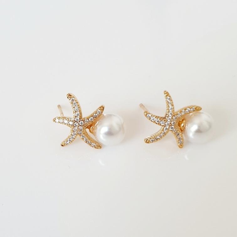 tienda de liquidación fe395 d2e52 Aretes Estrella De Mar Sobre Perla Oro Lam18k