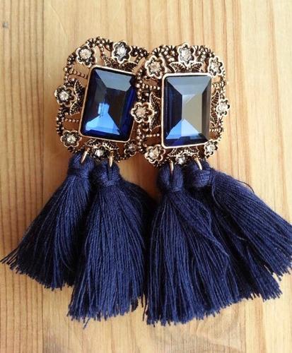 aretes flecos con piedra borla elegantes de moda vintage
