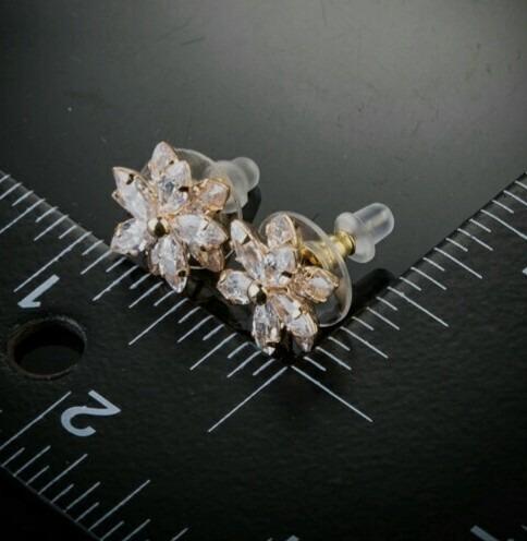 aretes flor cristal swarovski elements oro 24kgp, envío!