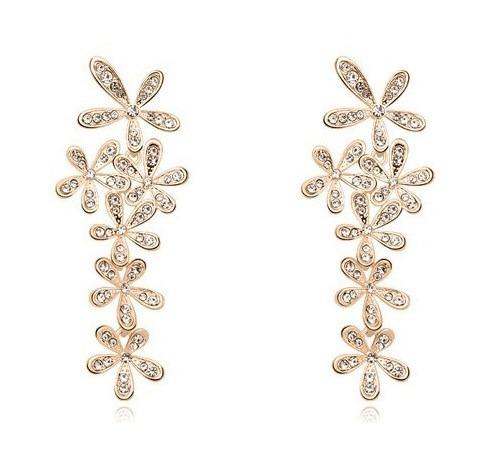 781dc1dfbd65 Aretes Flores Con Cristales Para Vestido De Fiesta En Stock - S  35 ...