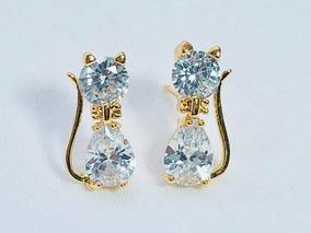cd2a635ac5c3 Aretes Gato Baño Oro 18k Zirconia Calidad Diamante
