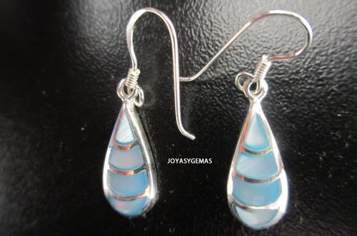 aretes gota de plata y madre perla celeste s/.35