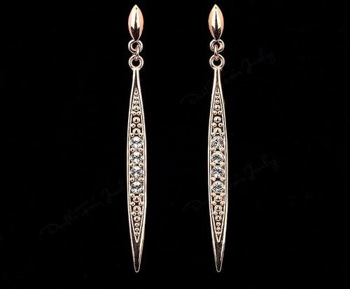 aretes largos elegantes oro18kgp regalo swarovski elements