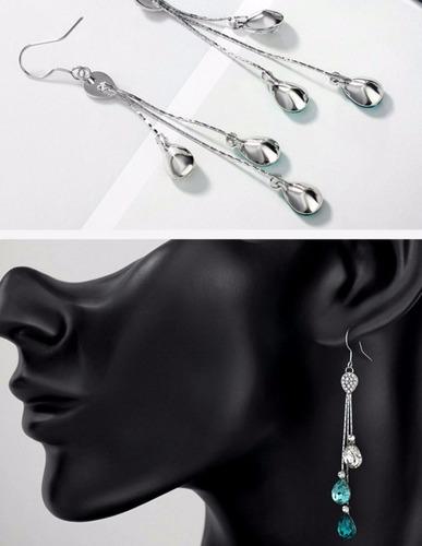 aretes largos elegantes platinados regalo swarovski elements