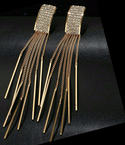 aretes largos elegantes tassel swarovski elem oro lam, envío
