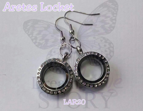 aretes locket circular acero inoxidable 20mm