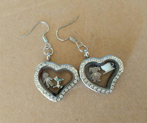 aretes locket corazón 20mm acero inoxidable
