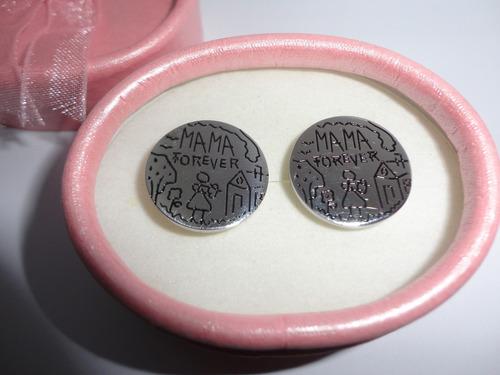 aretes  mama forever  moda titanium acero 316l