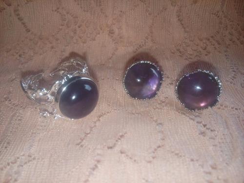 aretes mas anillos con piedra en cuarzo natural
