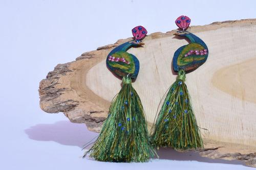 aretes maxi pavo real aborígenes barranquilla
