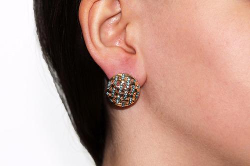 aretes moda bisuteria dorado circular cristales azules ar835