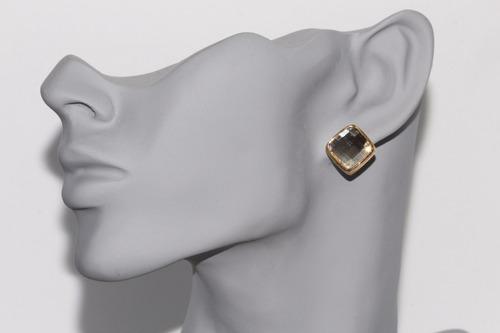 aretes moda dama dorado rombo centro gris biselado ar823