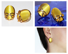 a72e9bf9fc45 Estado De México · Aretes Moda Dama Mujer Dorados Moño Cristal Amarillo Ar58