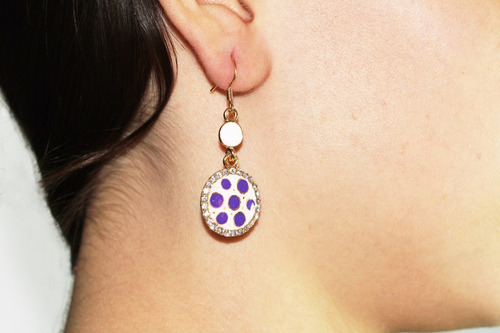 aretes moda dorado circular cristales lunares morados ar786