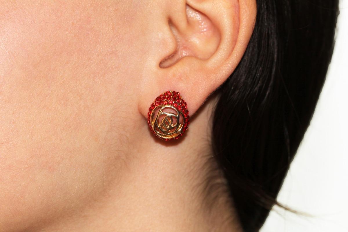 18a6ceb81c4d Aretes Moda Dorado Cristales Rojos Dama Bisuteria Ar940 -   59.99 en ...