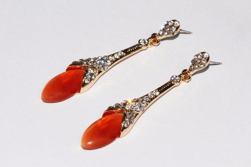 aretes moda dorado largo  cristales y cuenta naranja ar837