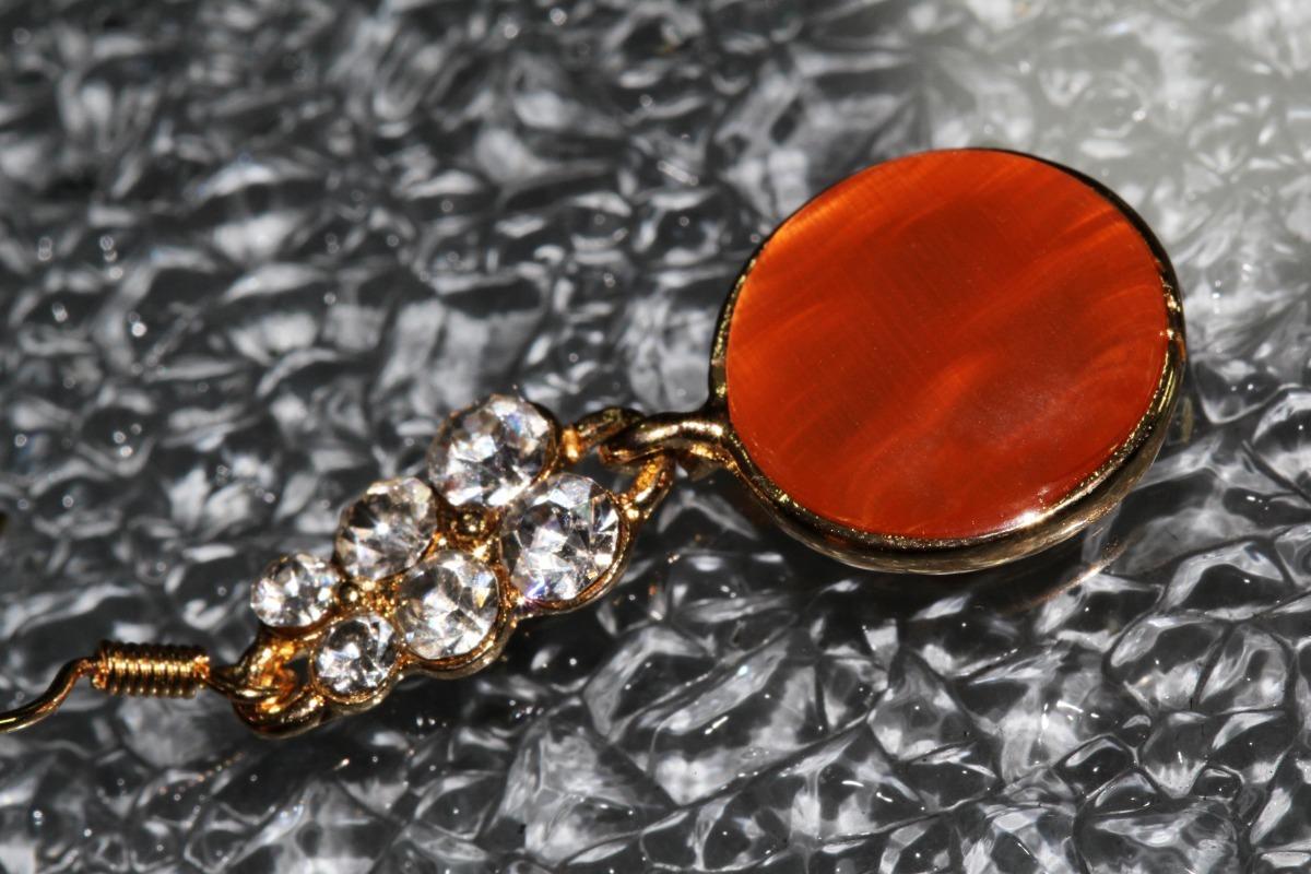 3bec05335ad5 Aretes Moda Dorado Naranja Largos Dama Bisuteria Ar935 -   59.99 en ...