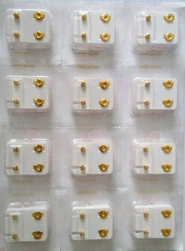 aretes niña bebe studex hipoalergenicos oro x 3 pares