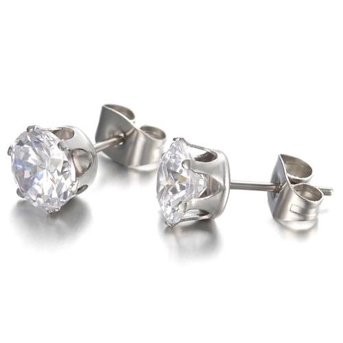 aretes oro blanco laminado 18kgp diamante ruso mujer joyería