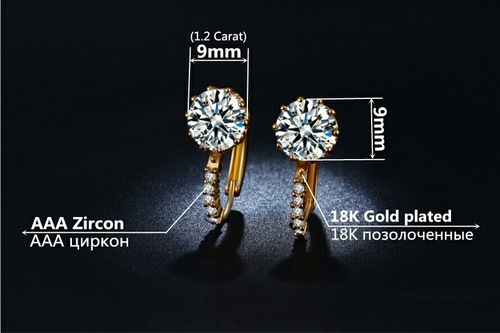 aretes oro zirconia calidad diamante + estuche regalo