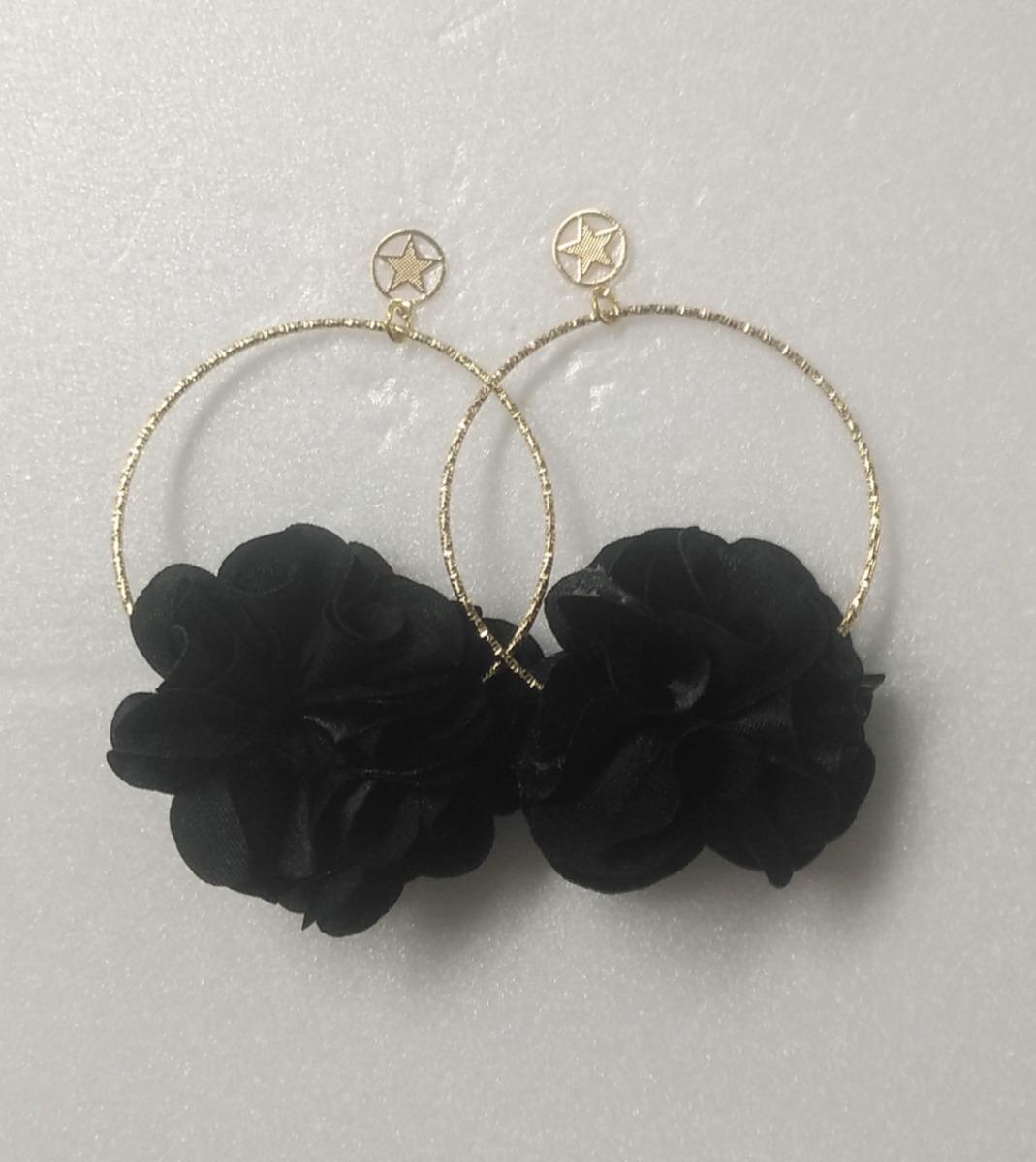 mejor servicio 1c414 84b96 Aretes Pendientes De Moda Para Mujer En Acero Flor Negros