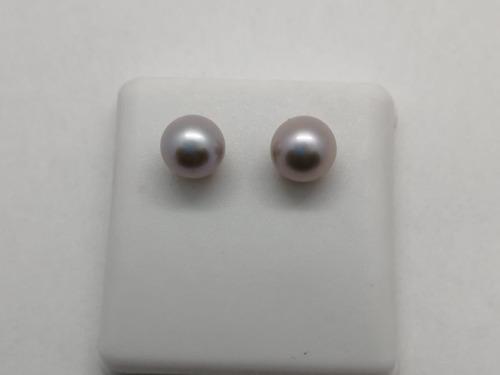 aretes perla cultivada con poste de oro 14 kt.