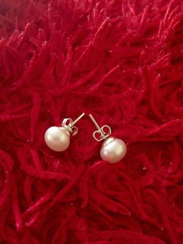 aretes perla natural en plata 925 broquel de 9mm diametro