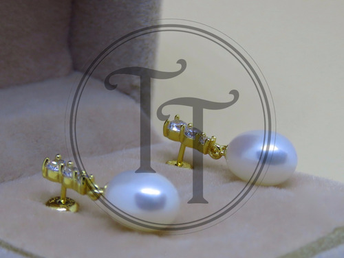 aretes perla natural plata esterlina 925/18k zirconias cz