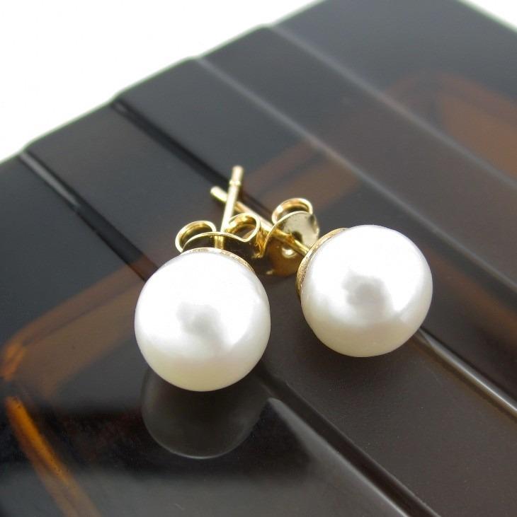 f3b9ed167cd0 Aretes Perlas Cultivadas Mujer Chapado En Oro Lindas Joyas -   39.900 en  Mercado Libre