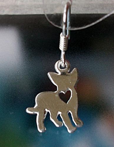aretes perro chihuahua chihuahueño corazon plata ley 925