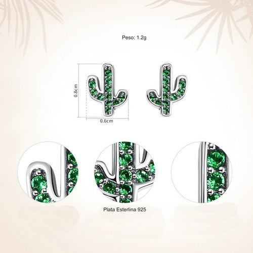 aretes plata esterlina cactus krasha para dama clkfsgs24