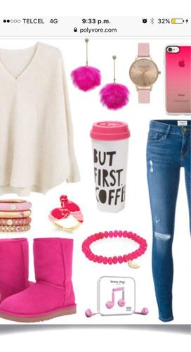 aretes pompón  rosa fuerte