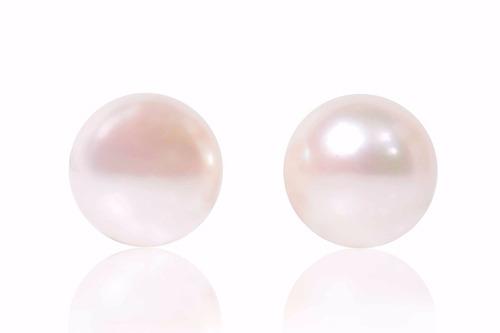 aretes post de perla blanca botón en oro de 14k (27163)