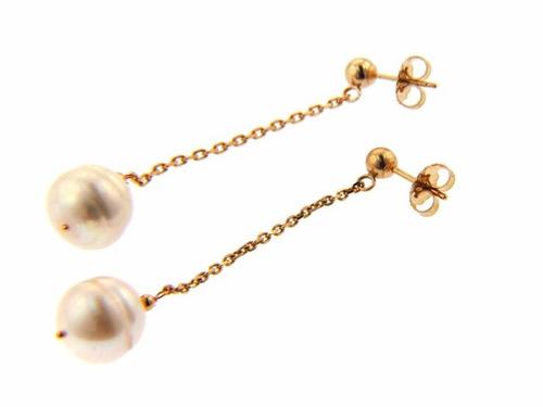 aretes post de perla blanca colgante en oro de 14k (27167)