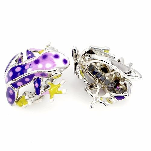 aretes rana de la suerte esmaltada a mano, joya de diseñador