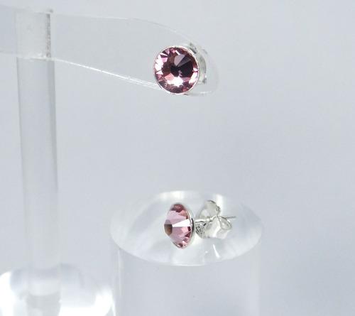 aretes topo con elementos swarovski rosado plata 925