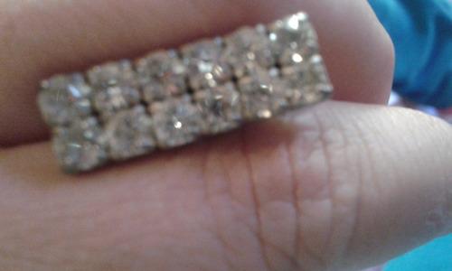 aretes xxx y broche brillante de plata