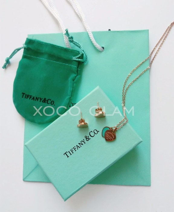 Aretes Y Cadena Con Dije Corazon Turquesa Tiffany Oro Rosado ...