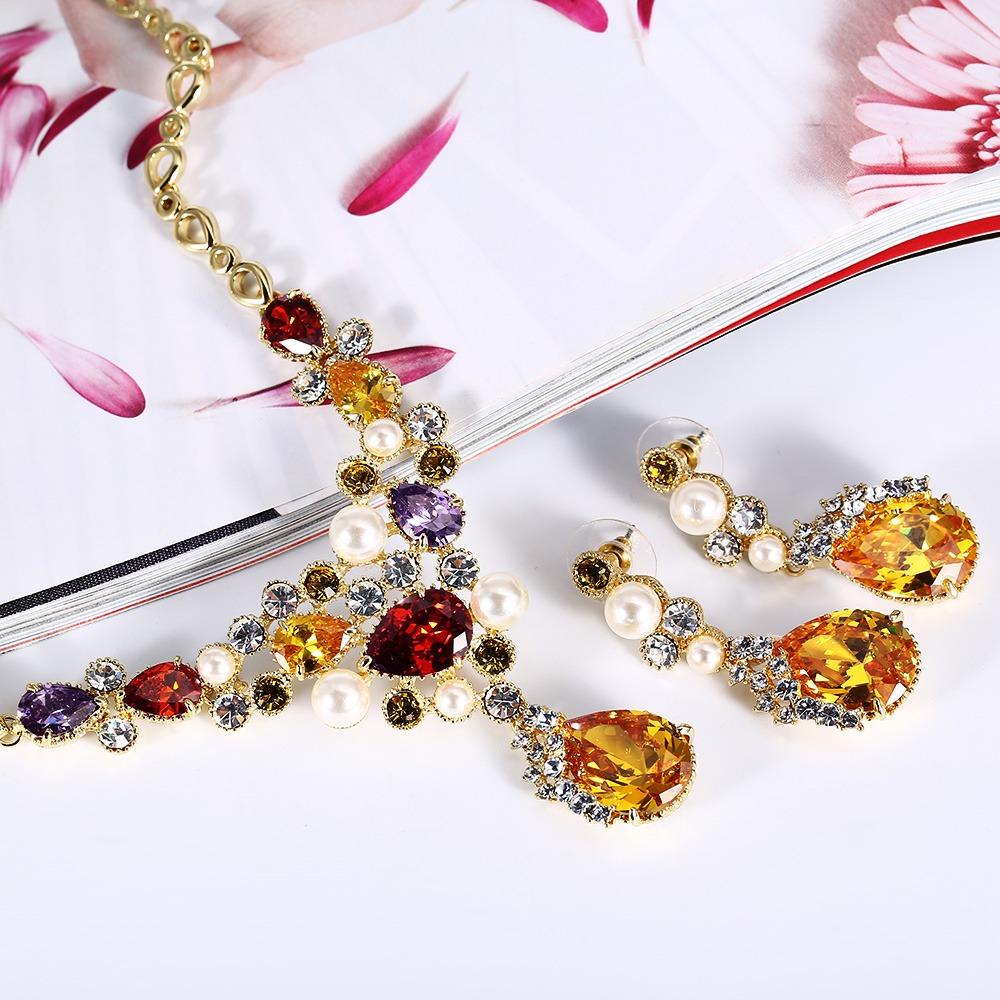 0d81a312a030 aretes y collar con perla diamante falso colorido para mujer. Cargando zoom.