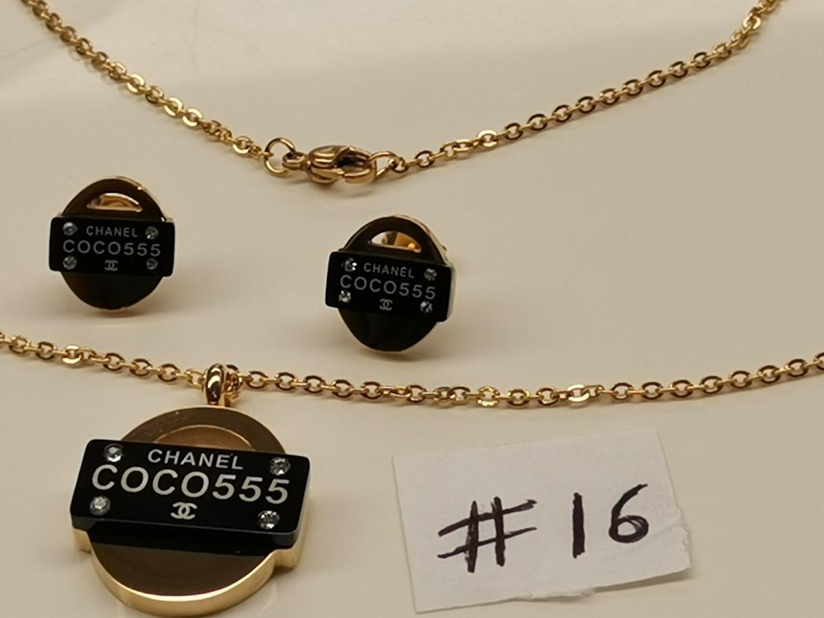 059d3d1452c5 aretes y collar en acero laminado en oro modelos  15  16  17. Cargando zoom.